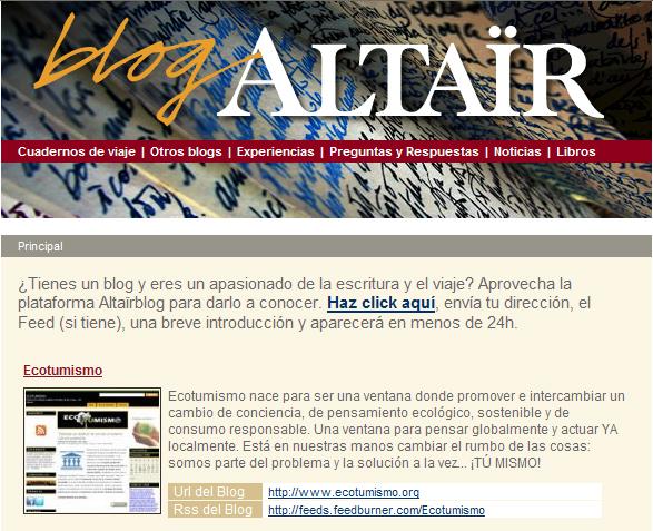 Ecotumismo en el blog de la librería Altaïr